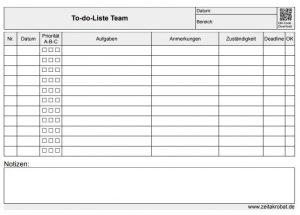 To-do-Liste für mehrere Personen mit A-B-C-Priorität, Deadline, Zuständigkeit und Feld zum Abhaken.