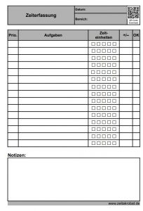 To-do-Liste mit Zeiterfassung, Priorisierung und Feld zum Abhaken.